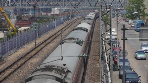 overlook train fast passing,intercity traffic in china Footage