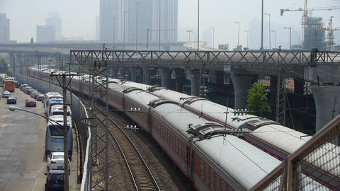 overlook two train slowly staggered passing,intercity... Stock Video Footage