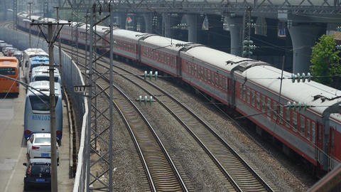 overlook train slowly moving,intercity traffic in china Stock Video Footage
