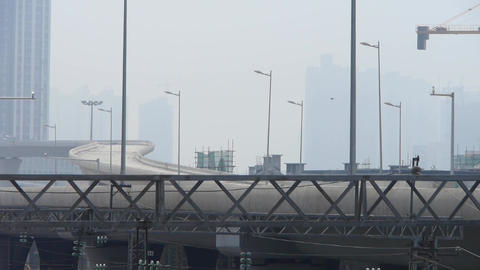 viaduct & overpass in haze pollution,china city Stock Video Footage