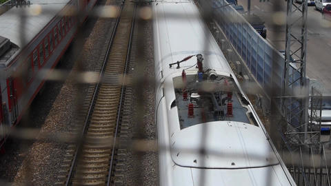 overlook high-speed rail passing through protective metal... Stock Video Footage