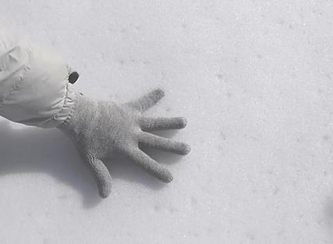 snow hand mark Stock Video Footage
