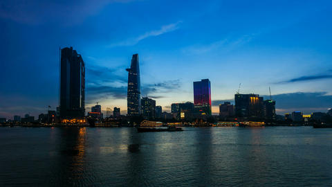 1080 - SAIGON CITY SKYLINE - Timelapse Stock Video Footage
