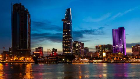 VIETNAM CITY SAIGON CITYSCAPE TIME LAPSE Stock Video Footage