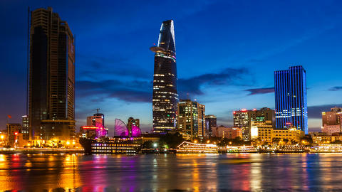 VIETNAM CITY SAIGON CITYSCAPE TIME LAPSE stock footage
