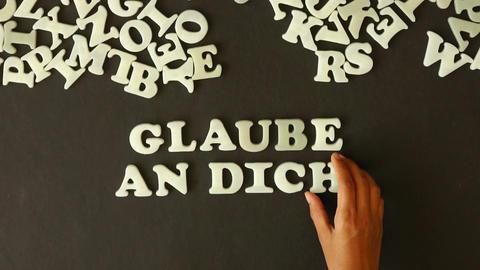 Believe in yourself (in German) Stock Video Footage