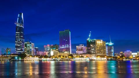 HO CHI MINH CITY - SAIGON CITYSCAPE TIME LAPSE Footage