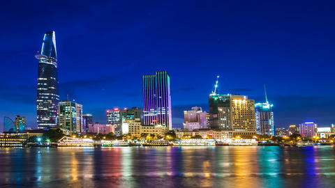 HO CHI MINH CITY - SAIGON CITYSCAPE TIME LAPSE Stock Video Footage
