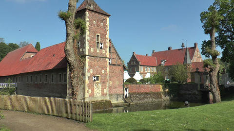 Moated castle in North Rhine-westphalia Stock Video Footage