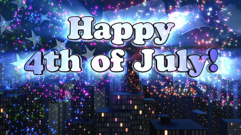 Happy 4th of July Title Animation Stock Video Footage
