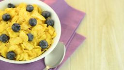 Cereal and blueberries Footage