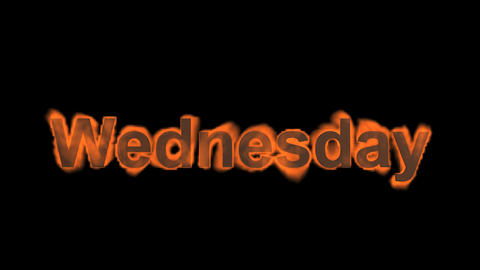 flame wednesday word,fire week text Stock Video Footage