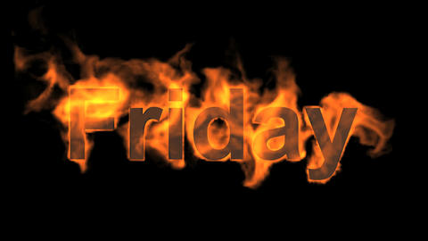 flame friday word,fire week text Animation