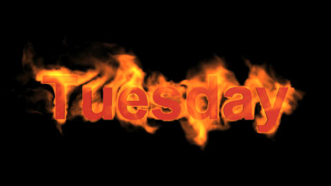 flame tuesday word,fire week text Animation
