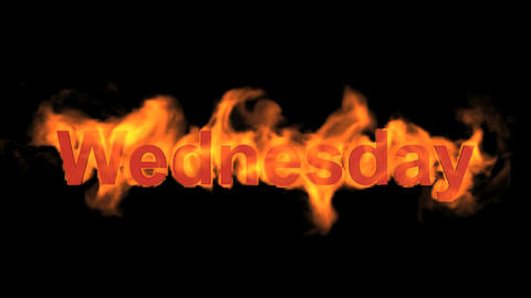 flame wednesday word,fire week text Animation