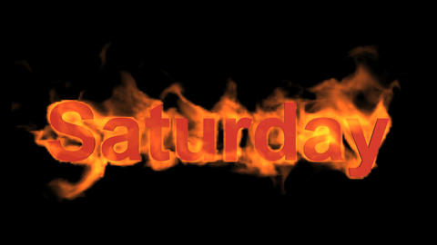 flame saturday word,fire week text Stock Video Footage
