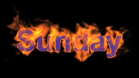 flame sunday word,fire week text Animation