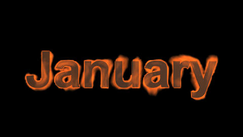 flame january word,fire month text Stock Video Footage