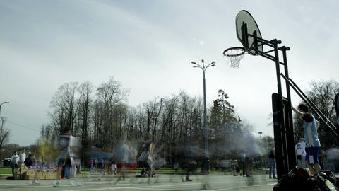 Streetball game timelapse 1 Stock Video Footage