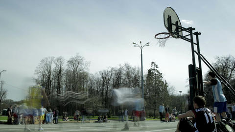 Streetball game timelapse 1 Footage