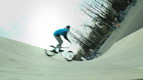 Demonstrative performance of extreme cyclists Stock Video Footage