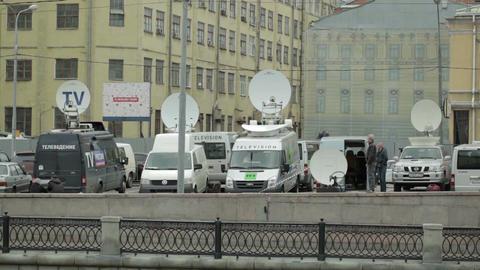 Parked satellite TV van Stock Video Footage