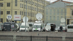 Parked satellite TV van Stock Video Footage