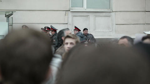 Policemen at the protest manifestation in Moscow Footage