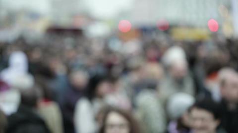 People crowd in blur Footage