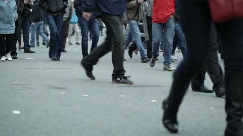 People Legs Walking In City stock footage