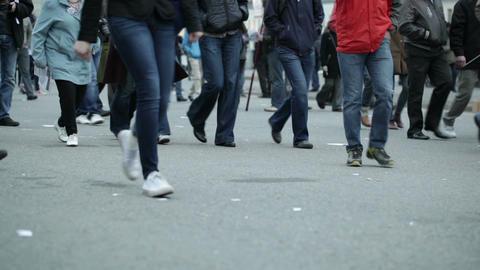 People legs walking in city Stock Video Footage