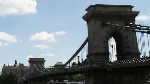 Chain Bridge Budapest Hungary Timelapse Daytime 5 Stock Video Footage