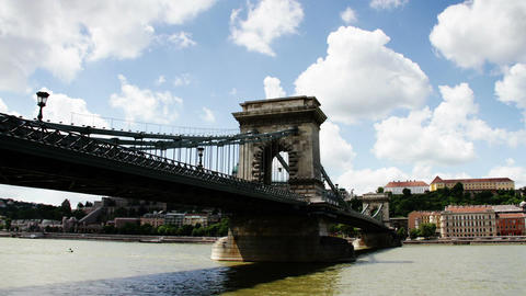 Chain Bridge Budapest Hungary Timelapse Daytime 7 Stock Video Footage