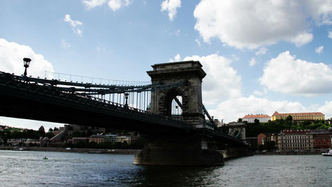 Chain Bridge Budapest Hungary Timelapse Daytime 7 Stock Video Footage