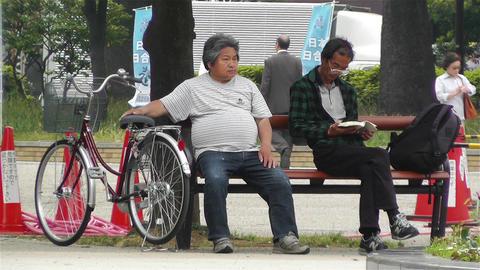 Japanese People Relaxing in Park in Yokohama Japan 1 Stock Video Footage
