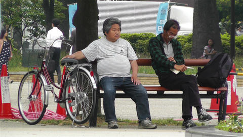 Japanese People Relaxing in Park in Yokohama Japan 1 Footage