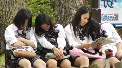 Japanese Schoolgirls Relaxing in Park in Yokohama Japan 12 Stock Video Footage