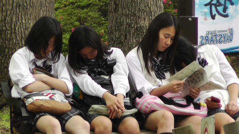 Japanese Schoolgirls Relaxing in Park in Yokohama Japan 12 Footage