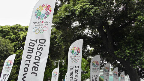 Tokyo 2020 Olympic Games Canditate Flags 1 Stock Video Footage