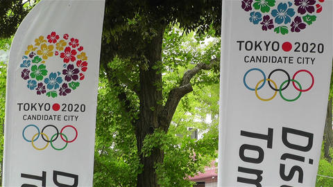 Tokyo 2020 Olympic Games Canditate Flags 8 Stock Video Footage