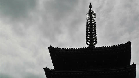 Tokyo Asakusa Senso Ji Temple Japan 18 clouds timelapse Stock Video Footage