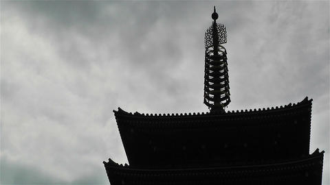 Tokyo Asakusa Senso Ji Temple Japan 18 clouds timelapse Stock Video Footage