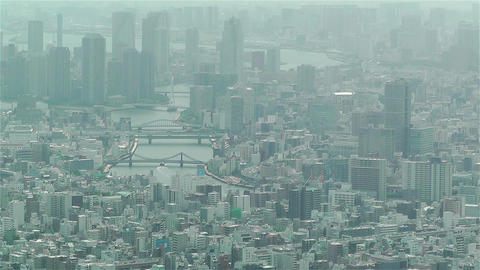Tokyo Skytree Oshiage Aerial View to Tokyo 2 Stock Video Footage