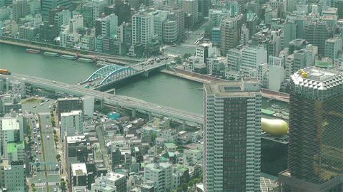 Tokyo Skytree Oshiage Aerial View to Tokyo 11 Stock Video Footage
