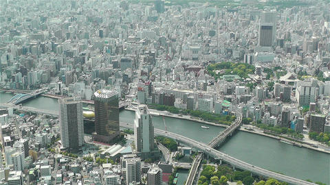 Tokyo Skytree Oshiage Aerial View to Tokyo 17 Stock Video Footage