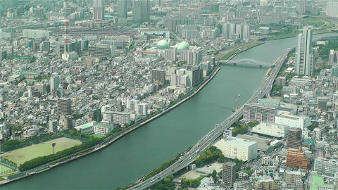 Tokyo Skytree Oshiage Aerial View to Tokyo 23 Stock Video Footage