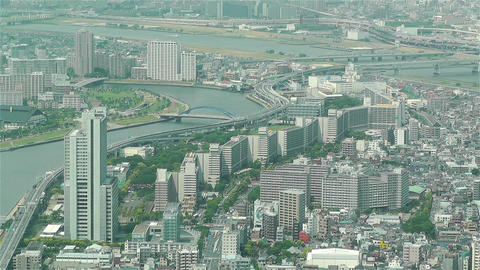 Tokyo Skytree Oshiage Aerial View to Tokyo 31 Stock Video Footage