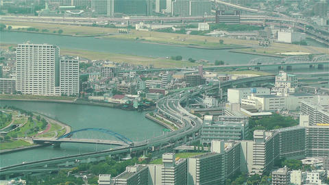 Tokyo Skytree Oshiage Aerial View to Tokyo 52 Stock Video Footage