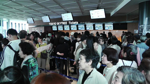 Tokyo Skytree Oshiage Waiting Line 4 Stock Video Footage