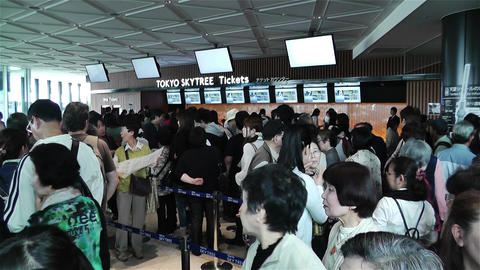 Tokyo Skytree Oshiage Waiting Line 4 Footage